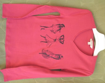 Bright pink long sleeved embroidered T-shirt