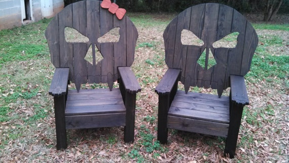 Wood Skull Lawn Chairs ~ Items similar to cool outdoor skull chair throne