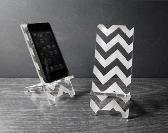 iPhone 6, iPhone 6 Plus, iPhone 5 or iPhone 4 Phone Stand Docking Station - Acrylic Chevron Pattern - Universal Smart Phone Stand