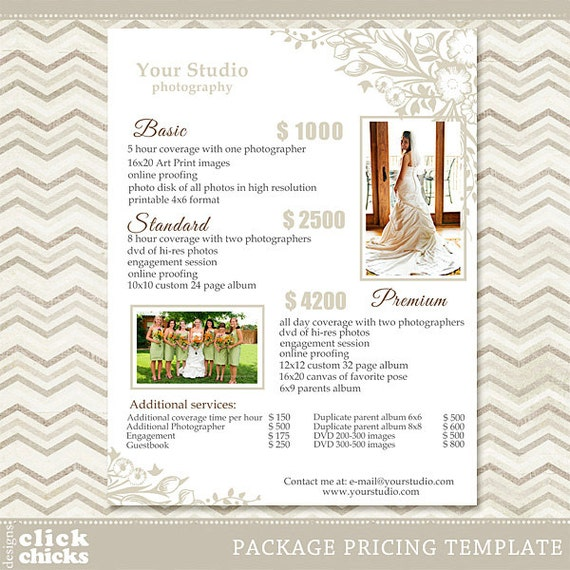 Wedding Rates Photography: Photography Package Pricing List Template Wedding Packages