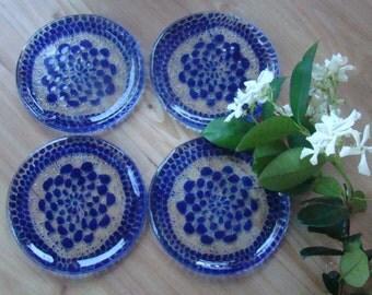Four Piece Sets of Cobalt Blue Flower Garden Coaster, Fused Glass Coasters, Doily Coasters