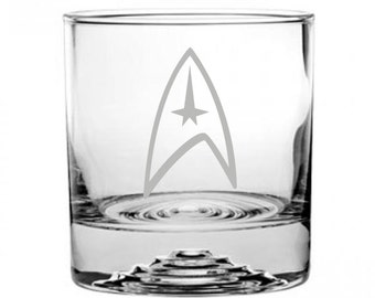 Star Trek Command Emblem Etched Rocks Glass Personalized