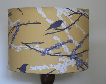 Modern Vintage 'Aviary II' 30cm Handmade Drum Lampshade - Vintage Yellow, Grey and White