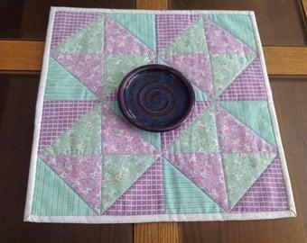 """14"""" square purple and green retro table topper"""