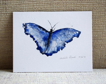 Original watercolor painting of a Blue morphe butterfly - animal painting - butterfly drawing - zen drawing - aquarelle insect  illustration