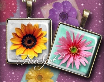 Stereo Flower- Digital Collage Sheet 1.5inch,1 inch,25 mm.20 mm Square Printable Download for Glass Pendants,Scrapbooking,Bottlecaps,Charms