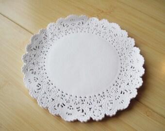 "50 White paper lace doily doilies 6"" size"