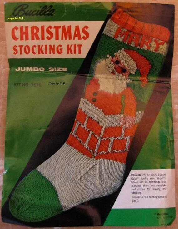 Vintage Christmas Stocking Knitting Pattern : Vintage Knit Christmas Santa Stocking COPY of the Pattern