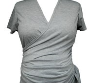 Womens Top Maternity Nursing Wrap Top Short Cap sleeved Style Soft Comfortable  Versatile Jersey Ruched