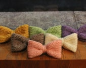 Hand Knitted Bow w/ Alligator Clip-Choose One Color