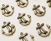 10 Antique Bronze Anchor Charms | 23x20mm
