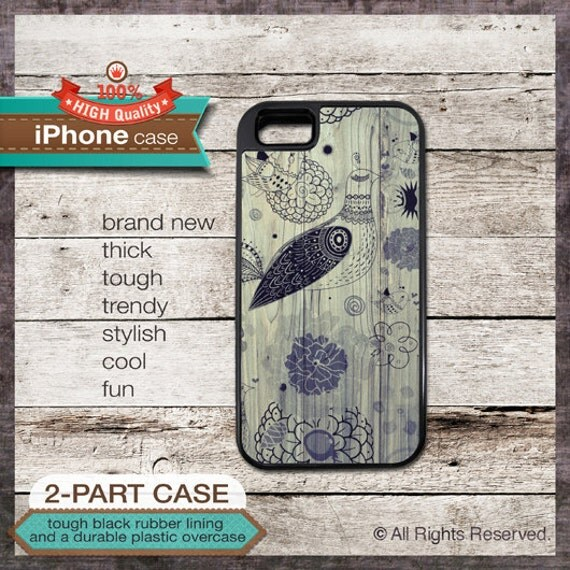 iPhone 6, 6+, 5 5S, 5C, 4 4S, Samsung Galaxy S3, S4 - Bird and Florals on Wood Pattern - Design Cover 51