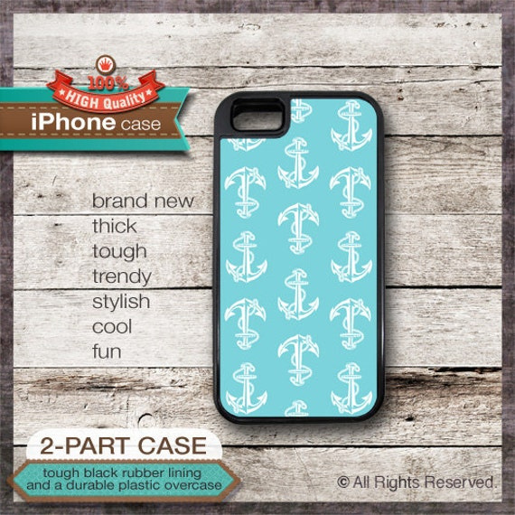 iPhone 6, 6+, 5 5S, 5C, 4 4S, Samsung Galaxy S3, S4 - Nautical Design 18 Anchor on Teal Blue