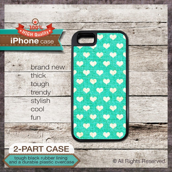 Hearts pattern on Teal Linen - iPhone 6, 6+, 5 5S, 5C, 4 4S, Samsung Galaxy S3, S4