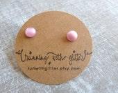 Tiny Pink Moon Glow Earring Studs