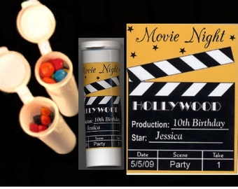 Movie Night party favors candy/crayon tubes set of 10