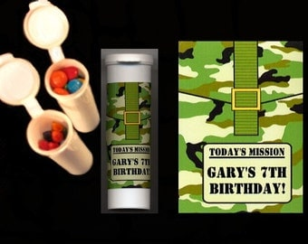 Army camouflage party favors candy/crayon tubes set of 10