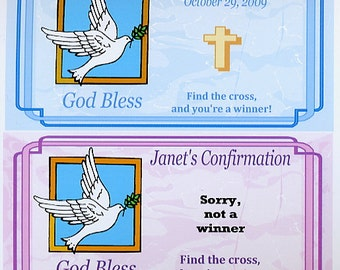 Confirmation party favors scratch off tickets-set of 10