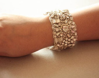 Crystal Wedding Bracelet, Bridal Jewelry, Statement Bracelet - Noahl (Made to Order)