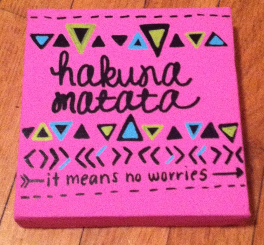 Canvas Quote Painting Hakuna Matata by kalligraphy on Etsy