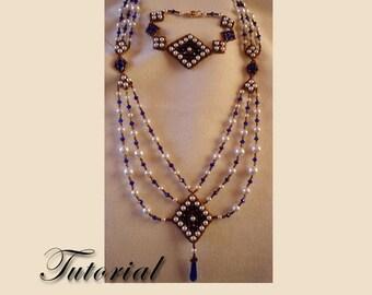 Pattern / Tutorial Beaded Necklace Set - Triple Diamond