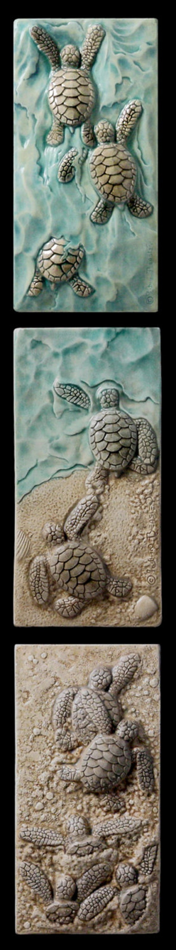 Art tile art tiles ceramic baby sea turtle by for Crossing the shallows tile mural