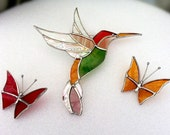 Stained Glass Hummingbird and Butterflies Suncatcher Set of 3, with hanger