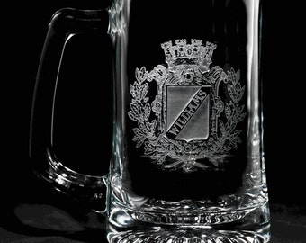 Personalized Crest Crown Beer Mug Glass, SET OF 4 Engraved
