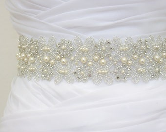LORIE - Bridal Crystal Rhinestone And Pearls Sash, Rhinestone Bridal Belt, Wedding Beaded Sash, Rhinestone Wedding Belts