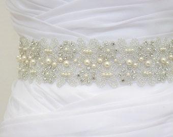 LORIE - Bridal Crystal Rhinestone And Pearls Sash, Rhinestone Bridal Belt, Wedding Beaded Sash, Rhinestone Wedding Belts