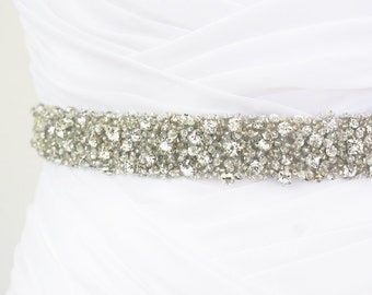 "Best Seller - CORINNE - 1"" Bridal Couture Crystal Rhinestone Encrusted Bridal Sash, Wedding Beaded Sash Belt"