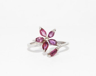 Pink Rubies Floral Ring