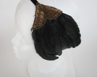 Renaissance faire baroque Headpiece Green Feather Flapper Style Beaded Bronze Headband Fascinator