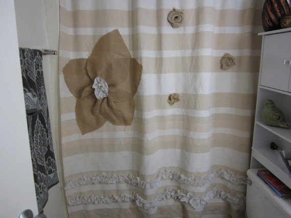 Shabby Chic Burlap Flowered Shower Curtain with by TheViolaBlossom