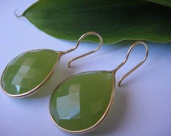Green chalcedony ,vermeil Bezel set faceted green chalcedony, earrings, jewelry,Gemstone earrings,tear drop earrings, chalcedony earrings