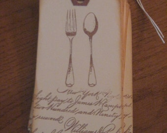 Vintage Hand Stamped Place Setting Tags