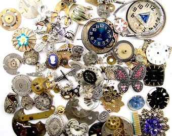 Steampunk Watch Parts, Vintage & NOS Jewelry Parts, Findings, Movements, Filigree, Value Lot 9.8oz E1127