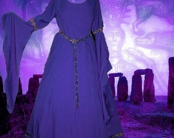 FREE SHIP Medieval Fantasy Renaissance LoTR Purple SCA Garb Cotton 1pc Gown lxl