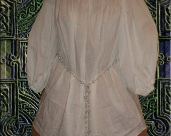 FREE SHIP Medieval Renaissance Chemise Undergown SCA Garb Blouse White Ivory 100 Percent Muslin