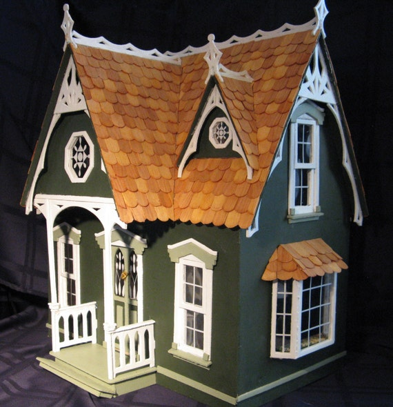 Items Similar To Handmade Victorian Wooden Dollhouse With