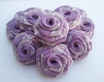 Lavender Burlap and Lace Flowers, Violet Burlap and Lace Flower, Burlap and Lace Flowers Burlap with Lace FLowers Burlap Flower, Burlap Rose