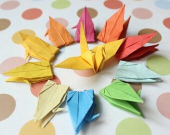 100 Multicolored Origami Cranes 6 x 6cm Weddings Origami Christmas Ornament Japanese Bird Paper Crane
