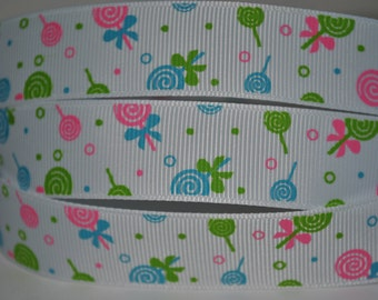 "5 yards - 7/8""  blue pink lollipop print grosgrain ribbon"