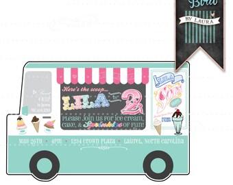 Ice Cream Truck Soda Shoppe - Birthday - Invitation - Printable - Digital - Customizable