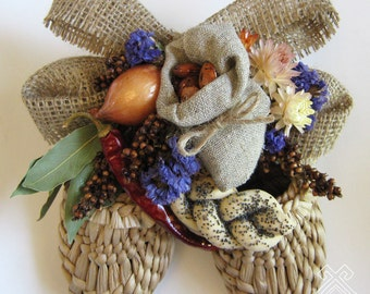 """Wall decoration - bast shoes """"Sack with harricots"""""""