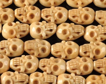 0763 24mm Carved ox bone skull loose beads 16pcs