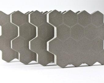 Concrete. Hexagon. Coasters.