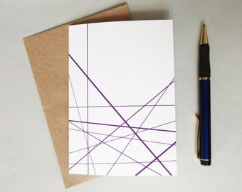 Greeting card purple lines geometric print card minimalist modern