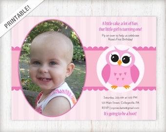 Owl Custom Invite Etsy - 1st birthday invitations girl owl