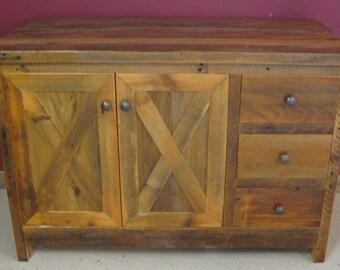 Reclaimed Barn Wood Cross Buck Style Bathroom  Vanity